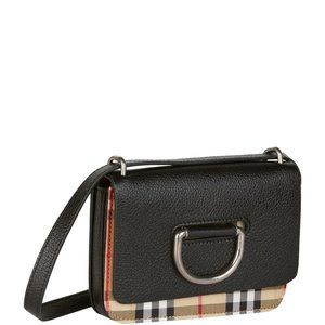Burberry Mini Vintage Check/Leather D-Ring Bag